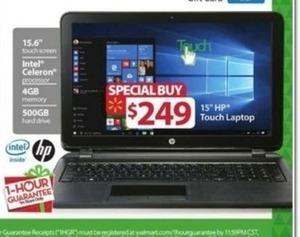 "HP 15"" Touchscreen Laptop w/ Celeron Processor, 4GB RAM, 500GB HD"