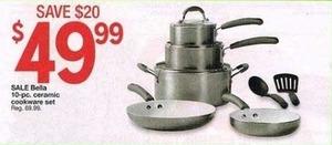 Bella 10-PC Ceramic Cookware Set