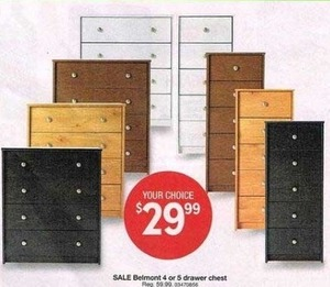 Belmont 4 or 5 Drawer Dresser