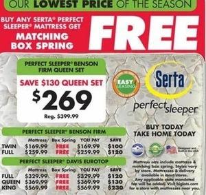 Box Spring w/ Purchase of Serta Perfect Sleeper Benson Firm or Davis Eurotop Mattress
