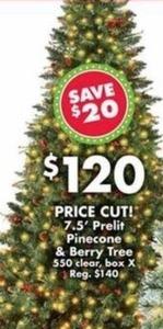 7.5' Prelit Pinecone & Berry Tree