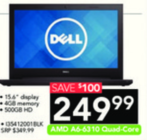 """Dell 15.6"""" Laptop with 4GB/500GB HD"""