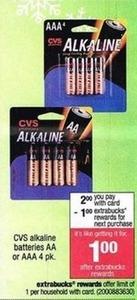 CVS Alkaline Batteries AA or AAA 4Pack