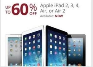 Apple iPad 2, 3, 4, Air or Air 2