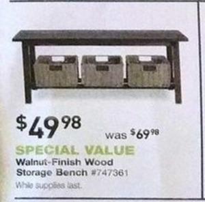 Walnut-Finish Wood Storage Bench