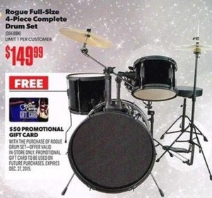 Rogue Full-Size 4-Piece Complete Drum Set + $50 Gift Card