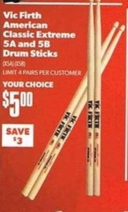 Vic Firth American Classic Extreme 5A and 5B Drum Stocks
