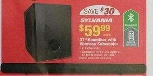 "Sylvania 37"" Soundbar with Wireless Subwoofer"