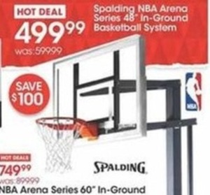 "Spalding NBA Arena Series 48"" In Ground Basketball Systeam"