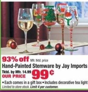 Jay Imports Hand-Painted Stemware