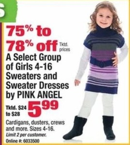 Select Group Of Girls 4-16 Sweaters And Sweater Dresses by Pink Angel