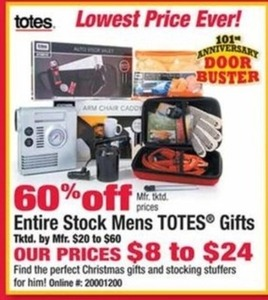 Entire Stock of Men's Totes Gifts