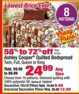 Ashley Cooper Quilted Bedspread (Any Size)