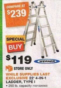 """Werner 22"""" 4-In-1 Ladder, Type 1"""