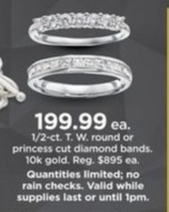 1/2-Ct. T.W. Round or Princess Cut Diamond Bands