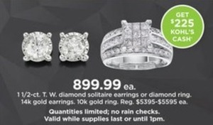 1 1/2 cttw Diamond Solitaire Earrings & Ring + $225 Kohl's Cash