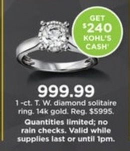 1 cttw Dimond Solitaire Ring in 14k Gold + $240 Kohl's Cash