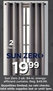 "Sun Zero 84"" Energy Efficient Curtains - Set of 2"