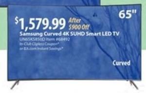 """Samsung 65"""" Curved 4K Smart LED HDTV"""