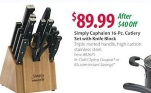 Simply Caphalon 16-Pc. Cutlery Set with Knife Block
