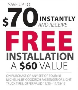 Free Installation with Any Set of 4 Michelin, BF Goodrich Passenger or Light Truck Tires