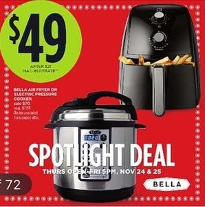 Bella Fryer or Electric Pressure Cooker After Rebate