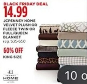 JCP Home Velvet Plush or Fleece Blanket + 60% Off King Size