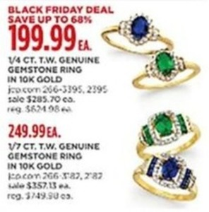 1/4 CT. T.W. Genuine Gemstone Ring in 10k Gold or 1/7 CT. T.W. Gemstone ring in 10k Gold