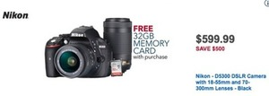 Nikon D5300 DSLR Camera with 18-55mm and 70-300mm Lenses - Black
