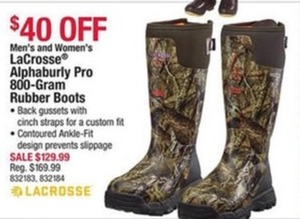Men's and Women's LaCrosse Alphaburly Pro 800-Gram Rubber Boots