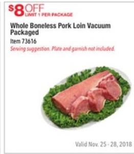 Whole Boneless Pork Loin Vacuum Packaged