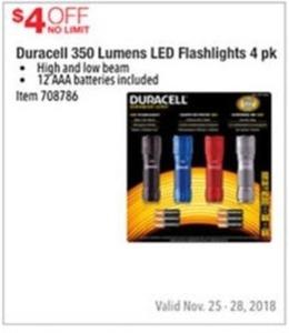 Duracell 350 Lumens LED FLashlights 4pk