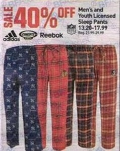 Men's and Youth Licensed Sleep Pants