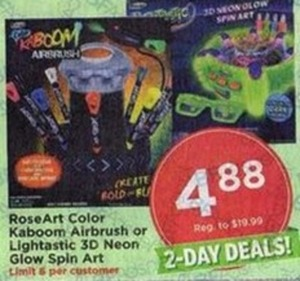 RoseArt Color Kaboom Airbrush or Lightastic 3D Neon Glow Spin Art
