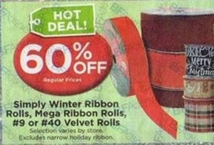 Simply Winter Ribbon Rolls, Mega Ribbon Rolls, #9 or #40 Velvet Rolls