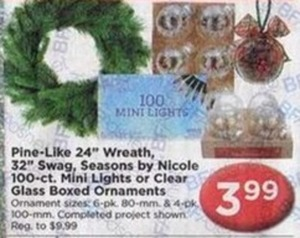 "Pine-Like 24"" Wreath, 32"" Swag, 100ct Mini Lights or Clear Glass boxed Ornaments"