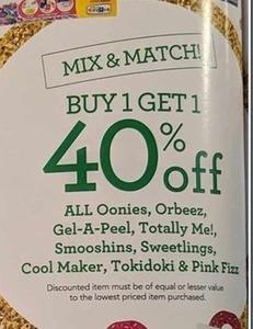 All Oonies, Orbeez, Gel-A-Peel, Totally Me!, Smooshins, Sweetlings, Cool Maker, Tokidoki & Pink Fizz