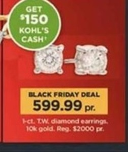 3-ct T.W. Diamond Earrings + $150 Kohls Cash