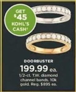 1/2 CT TW Diamond Channel 10k Gold Bands + $45 Kohl's Cash