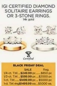 IGI Certified Diamond Solitaire Earrings or 3-Stone Rings