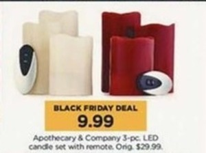 Apothecary & Company 3-pc LED Candle Set w/ Remote