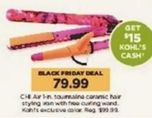 Chi Air 1 in. Tourmaine Ceramic Hair Styling Iron w/ Free Curling Wand + $15 Kohl's Cash