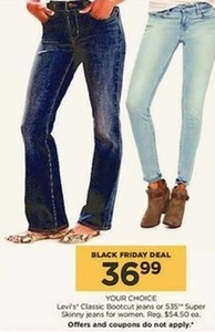 Women's Levi's Bootcut or 535 Super Skinny Jeans