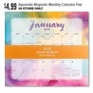 Aquarelle Magnetic Monthly Calendar Pad