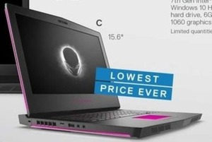 "Alienware 7th Gen Intel i7 15.6"" Laptop (11AM ET, 11/23)"