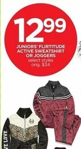 Juniors' Flirtitude Active Sweatshirt or Joggers