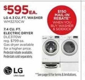 LG 4.3 Cu. Ft. Washer After Rebate