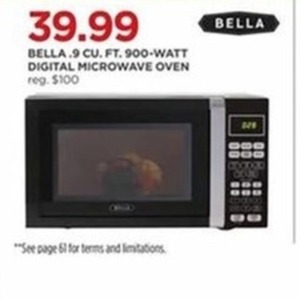 Bella .9 CU. FT. 900-Watt Digital Microwave Oven