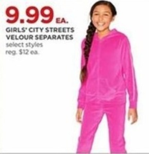 Girls' City Streets Velour Separates