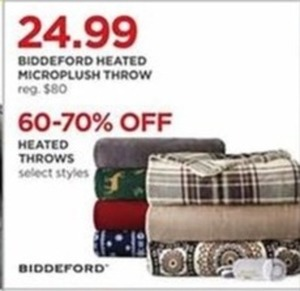 Biddeford Heated Microplush Throw